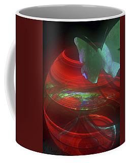 Red Fractal Bowl With Butterfly Coffee Mug