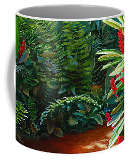 Tropical Jungle Landscape - Red Garden Hawaiian Torch Ginger Wall Art Coffee Mug