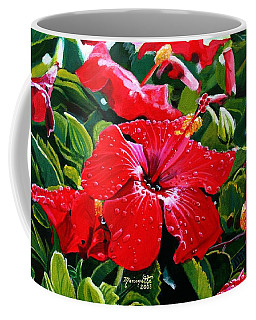 Red Hibiscus Coffee Mug by Marionette Taboniar