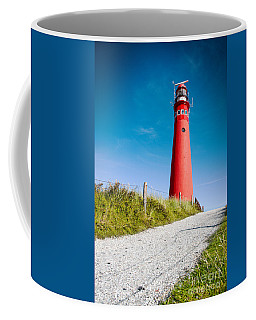 Red Lighthouse And Deep Blue Sky. Coffee Mug