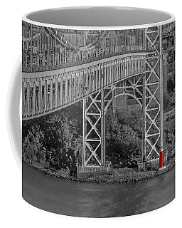 Red Lighthouse And Great Gray Bridge Bw Coffee Mug