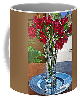Red Freesia Flower Bouquet Art Prints Coffee Mug by Valerie Garner