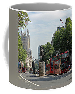Red London Bus In Whitehall Coffee Mug