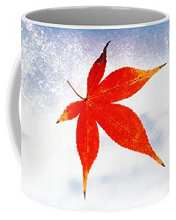 Red Maple Leaf Against White Background Coffee Mug