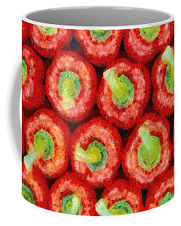 Coffee Mug featuring the painting Red Peppers by George Atsametakis