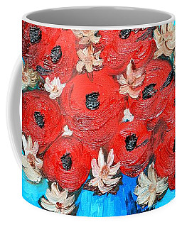Red Poppies And White Daisies Coffee Mug by Ramona Matei