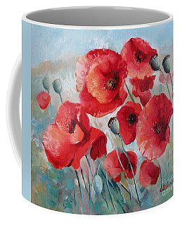 Coffee Mug featuring the painting Red Poppies by Elena Oleniuc