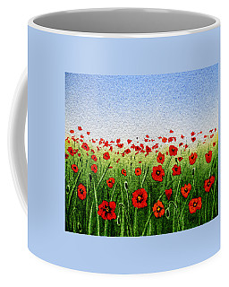 Red Poppies Green Field And A Blue Blue Sky Coffee Mug
