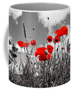 Red Poppies On Black And White Background Coffee Mug