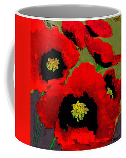 Red Poppies On Olive Coffee Mug