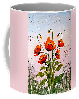 Red Poppies Original Watercolor  Coffee Mug