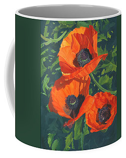 Coffee Mug featuring the painting Red Poppies Three by Lynne Reichhart