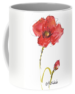 Red Poppy And Bud Coffee Mug