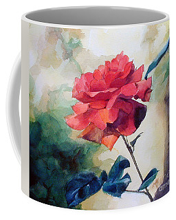 Watercolor Of A Single Red Rose On A Branch Coffee Mug