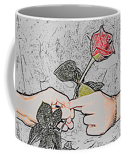 Red Rose Sketch By Jan Marvin Studios Coffee Mug
