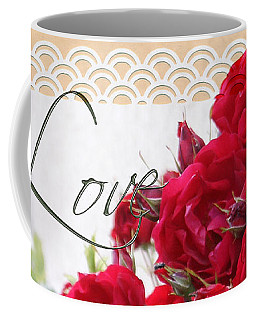 Coffee Mug featuring the photograph Red Roses Love And Lace by Sandra Foster