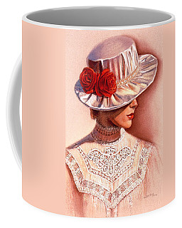 Coffee Mug featuring the painting Red Roses Satin Hat by Sue Halstenberg