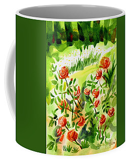 Coffee Mug featuring the painting Red Roses With Daisies In The Garden by Kip DeVore
