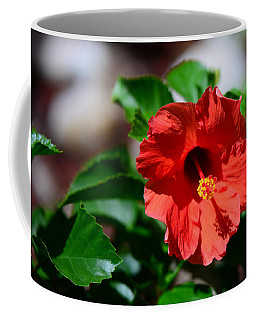 Red Ruffled Hibiscus Coffee Mug by Connie Fox