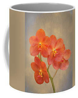 Red Scarlet Orchid On Grunge Coffee Mug