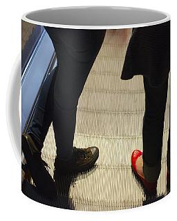 Red Shoe On Escalator Coffee Mug
