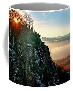 Red Sun Rays On The Lilienstein Coffee Mug