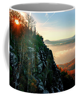Red Sun Rays On The Lilienstein Coffee Mug