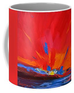 Red Sunset Modern Abstract Art Coffee Mug