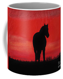Red Sunset Horse Coffee Mug
