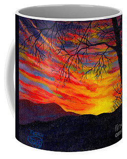 Coffee Mug featuring the painting Red Sunset by Nancy Cupp