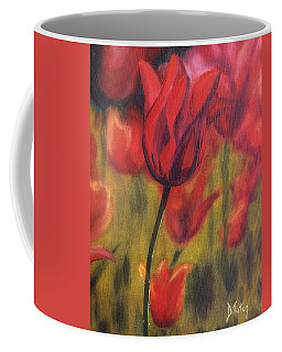 Coffee Mug featuring the painting Red Tulips by Donna Tuten