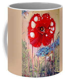 Coffee Mug featuring the painting Red Weed Red Poppy by Daniel Janda