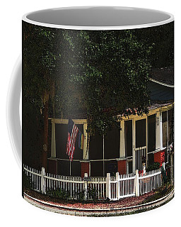 Coffee Mug featuring the photograph Red White And Blue Cottage by Laura Ragland