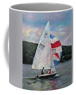 Coffee Mug featuring the drawing Red White And Blue Sailboat by Viola El