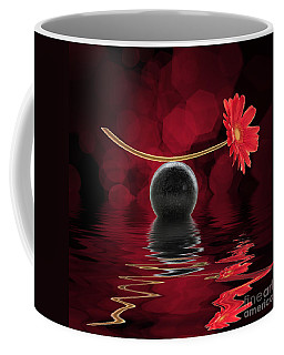 Red Zen Gerbera Coffee Mug by Delphimages Photo Creations