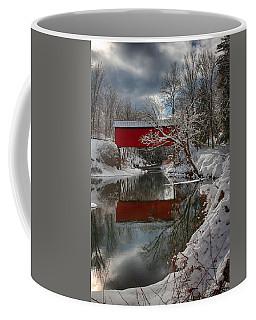 reflection of Slaughterhouse covered bridge Coffee Mug by Jeff Folger