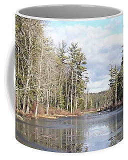 Reflections Caught On Ice At A Pretty Lake In New Hampshire Coffee Mug
