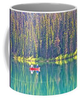 Reflective Fishing On Emerald Lake In Yoho National Park-british Columbia-canada  Coffee Mug