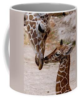 Reticulated Giraffe Nuzzling Baby Coffee Mug