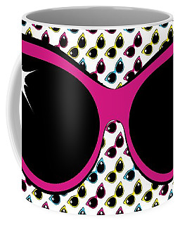 Retro Pink Cat Sunglasses Coffee Mug