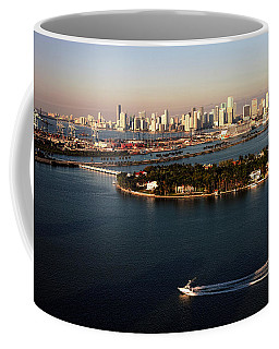Retro Style Miami Skyline Sunrise And Biscayne Bay Coffee Mug