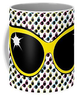 Retro Yellow Cat Sunglasses Coffee Mug