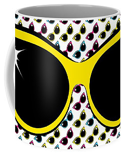 Retro Yellow Cat Sunglasses Coffee Mug