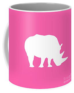 Rhino In Pink And White Coffee Mug