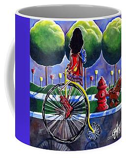 Coffee Mug featuring the painting Riding Grandmas Bike by Jackie Carpenter