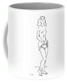 Coffee Mug featuring the drawing Rikka Dressing 3of8 by Gordon Punt