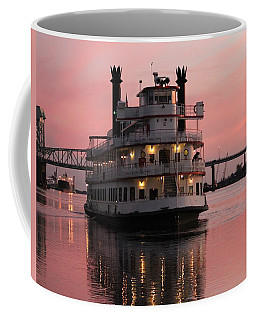 Coffee Mug featuring the photograph Riverboat At Sunset by Cynthia Guinn