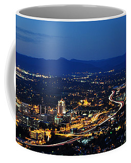 Roanoke City As Seen From Mill Mountain Star At Dusk In Virginia Coffee Mug by Paul Fearn