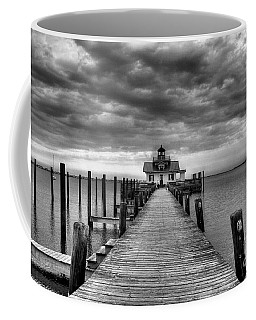 Coffee Mug featuring the photograph Roanoke Marshes Light 2 Bw by Mel Steinhauer