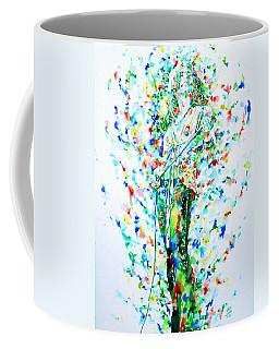 Robert Plant Singing - Watercolor Portrait Coffee Mug